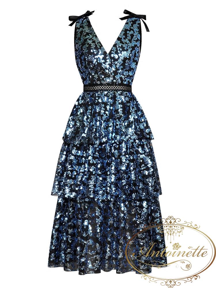 Sexy Backless Deep V Sequin Women Blue Dress Gorgeous Party Midi Runway Dresses Vestidos