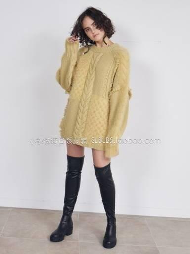 セーター レディース ニット ビッグミックスニット 大きいサイズ ビッグシルエット 編み上げ トレンド 韓国 オルチャン