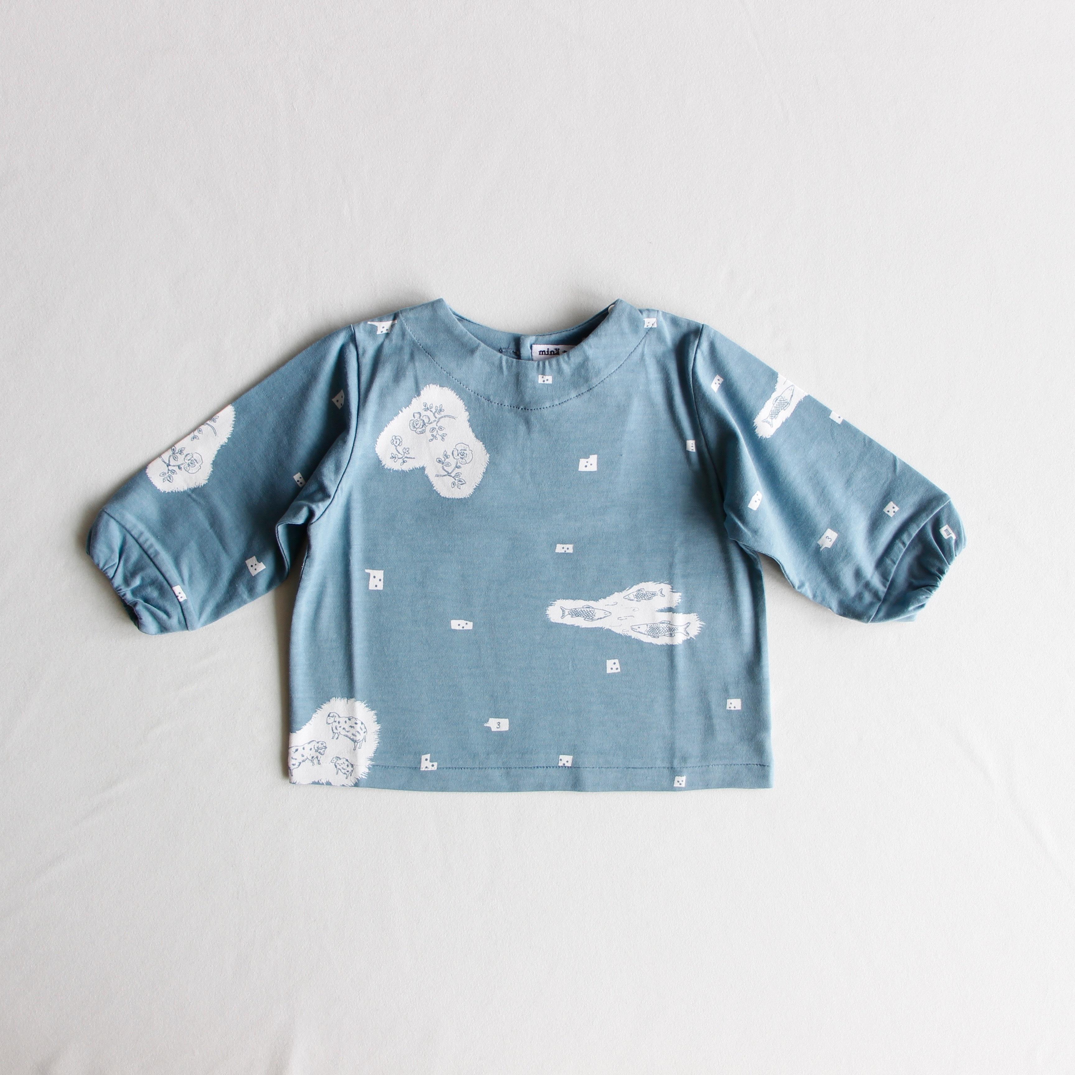 《mina perhonen 2019AW》trois 長袖カットソー / blue / 80-100cm