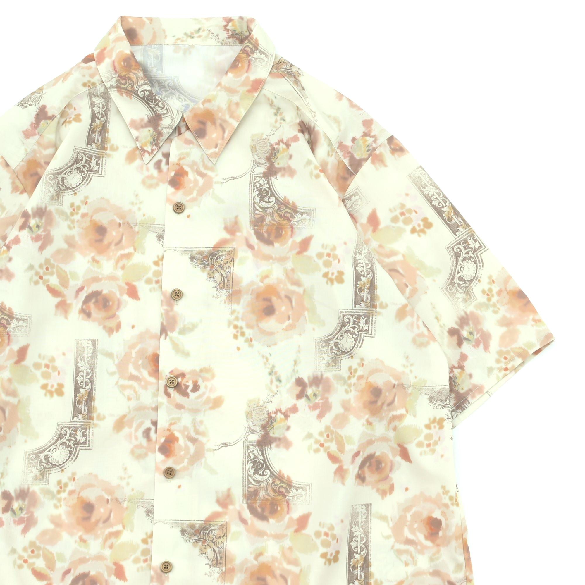 Rose & antique design full pattern open collar shirt