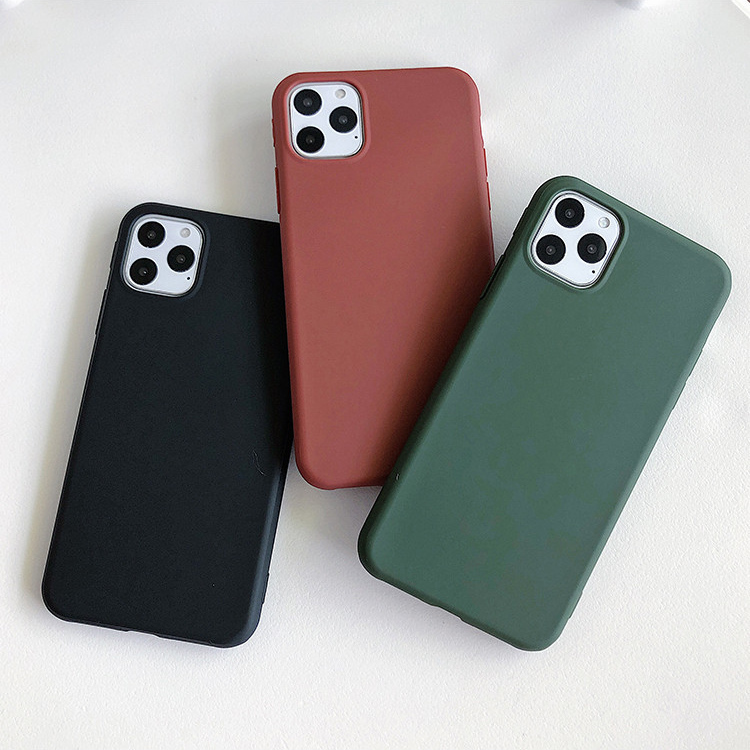【お取り寄せ商品、送料無料】3カラー 無地 シンプル マット ソフト iPhoneケース iPhone11