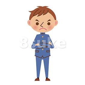 イラスト素材:怒った表情の学生服姿の男子中学生・高校生(ベクター・JPG)