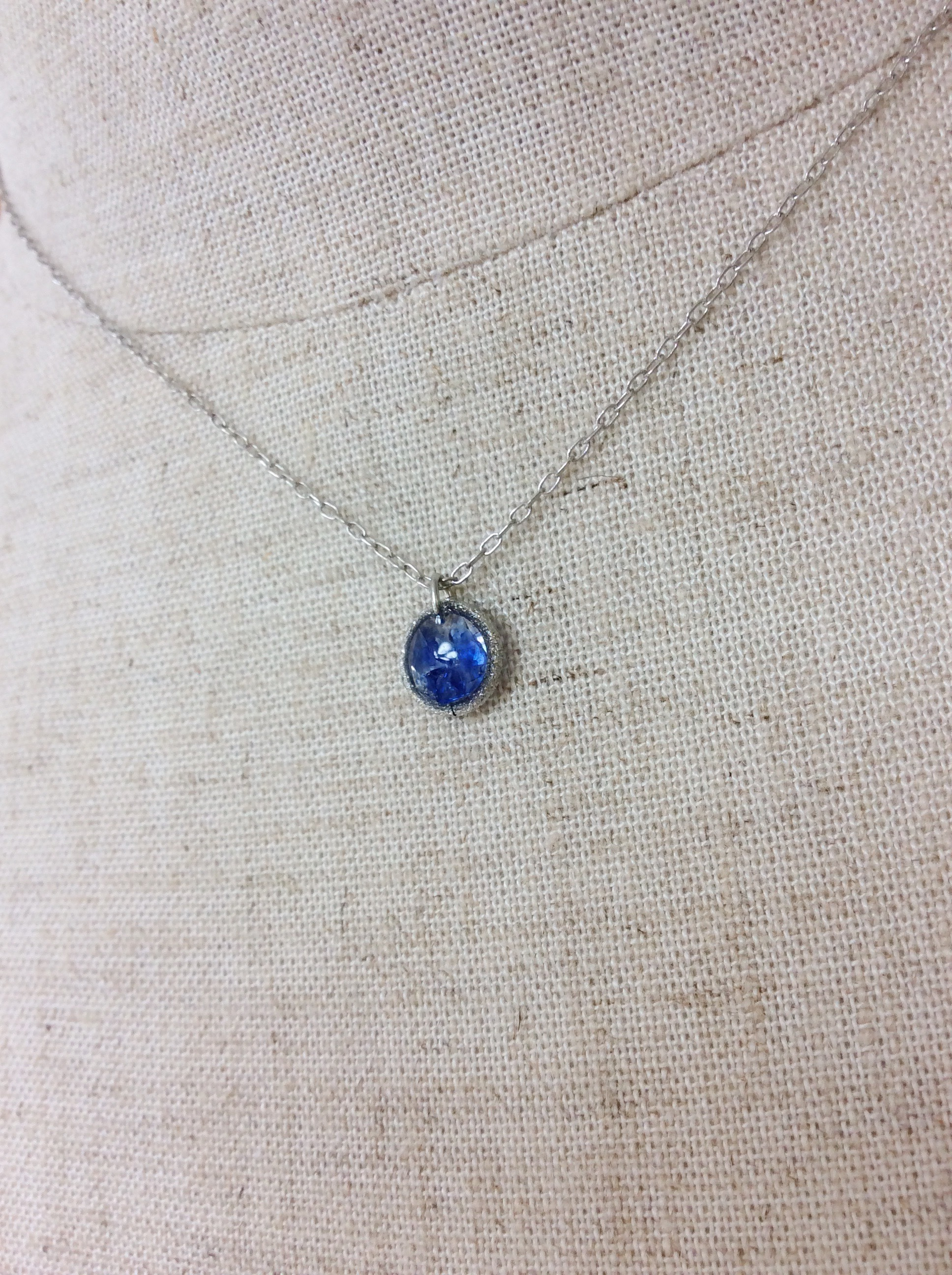 silver necklace  - ryukyu glass -