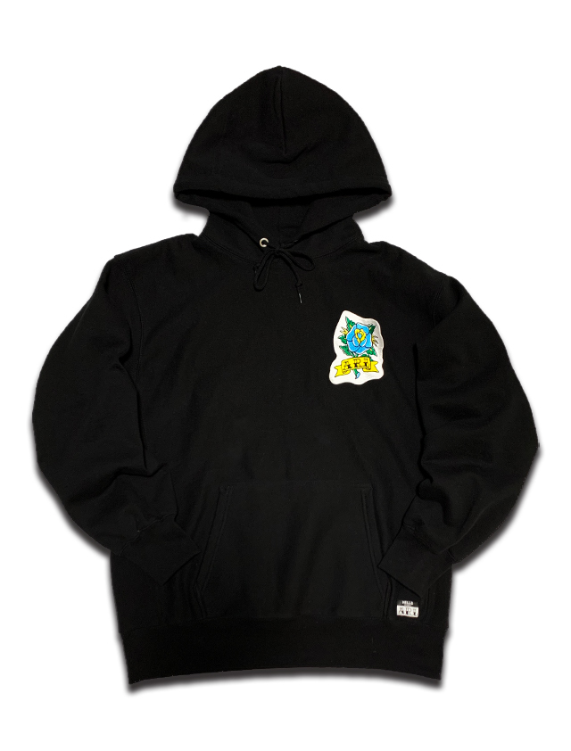 ROSE PATCH HEAVY WEIGHT HOODIE black