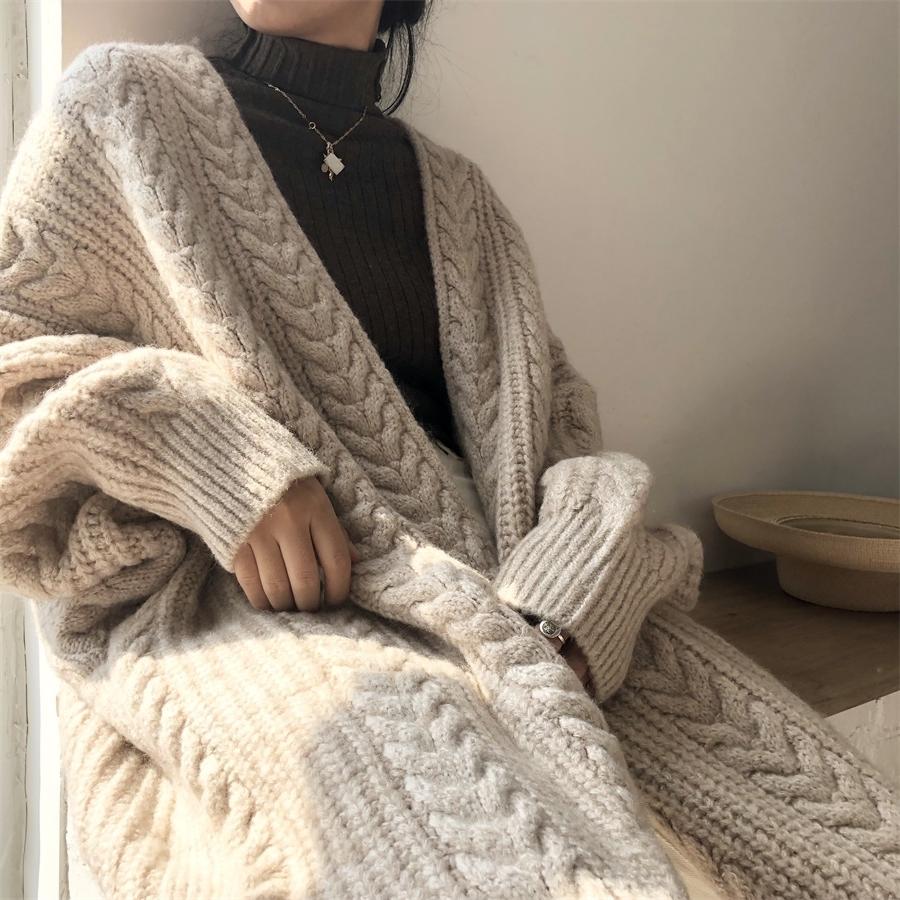 〈カフェシリーズ〉ロングニットカーディガン【long knit cardigan】