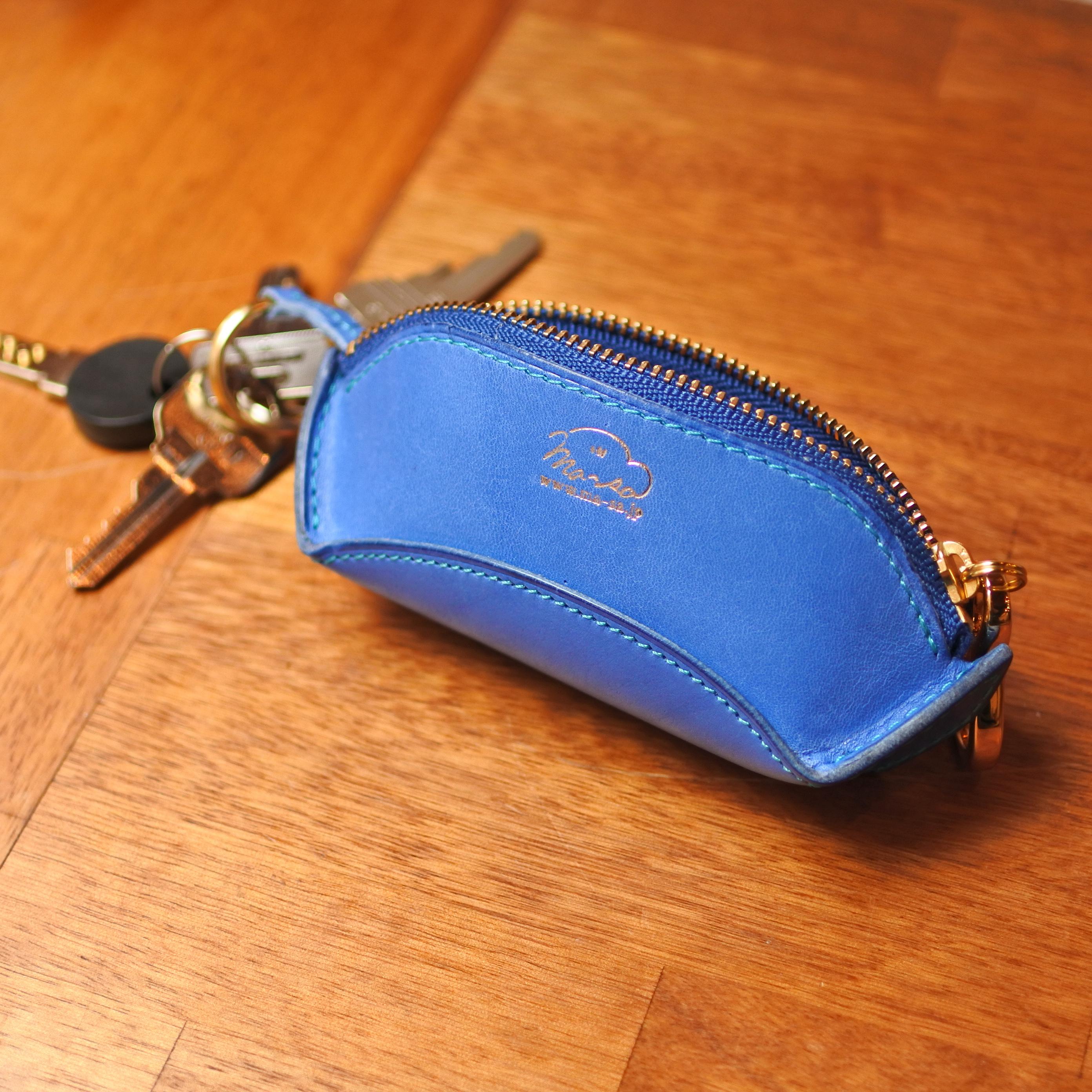 la culla  綺麗なブルーのキーケース&小銭入れ