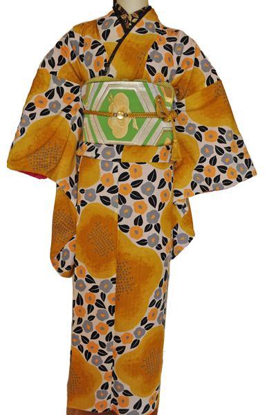 レンタル着物315-1「パーティーきものレンタル」和風館濃い上品な黄色に小さな可愛い椿の柄【往復送料無料】 - 画像2