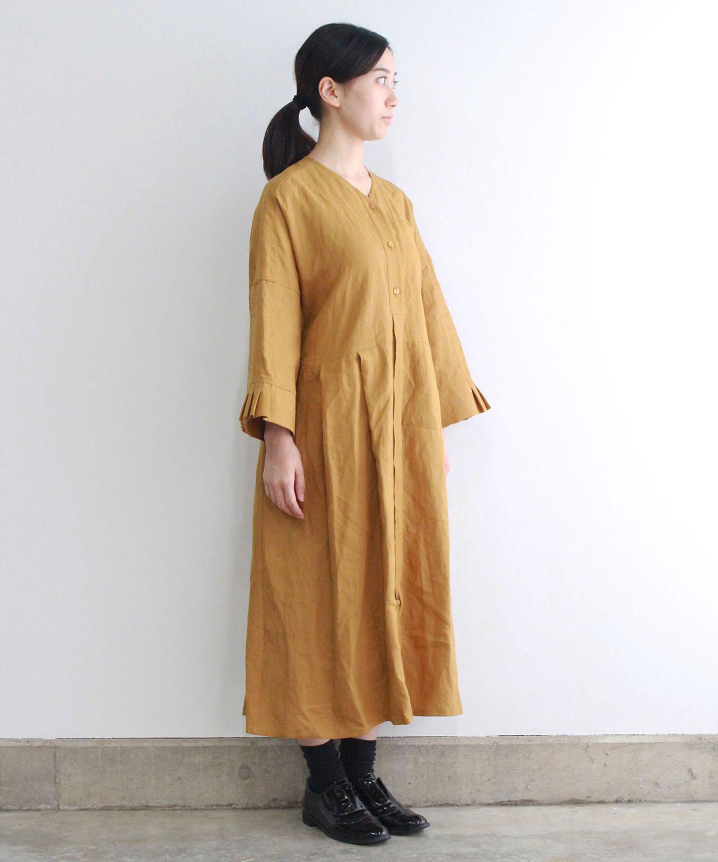 【予約商品】リネンタックカフスワンピースドレス(evi603 YEL・イエロー)