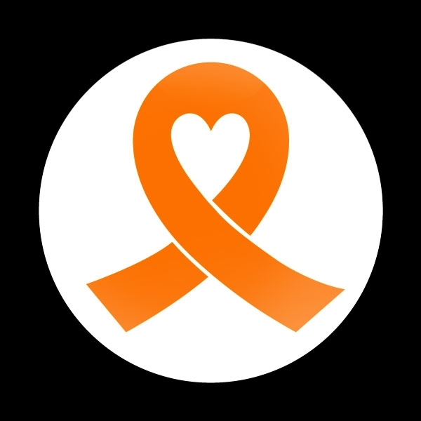ゴーバッジ(ドーム)(CD0983 - ORANGE RIBBON WHITE (LEUKEMIA)) - 画像1