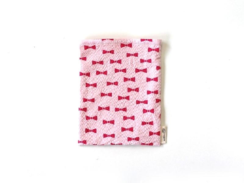 ハリネズミ用寝袋 S(夏用) 綿リップル×スムースニット リボン ピンク