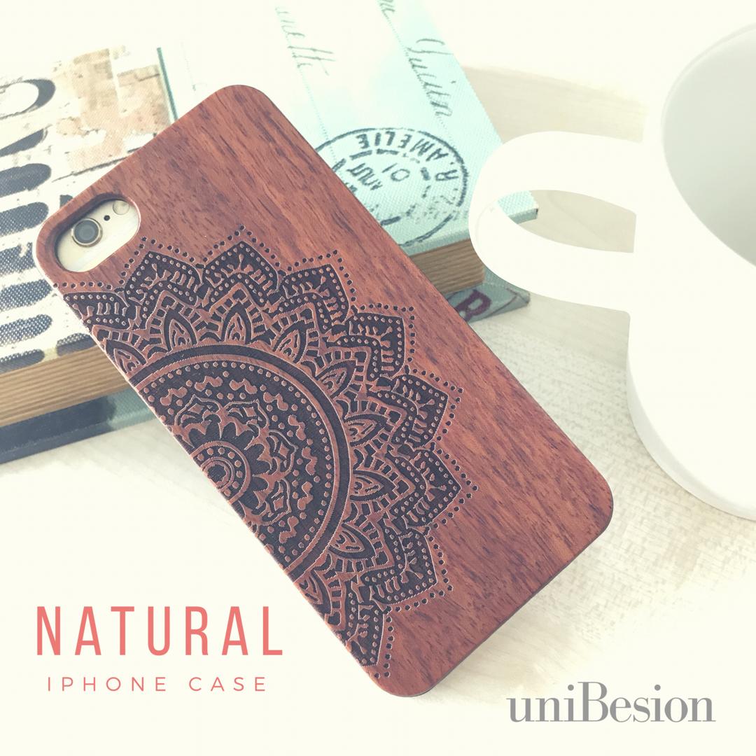 【スマホケース新サイズ入荷】iPhoneケース アイフォンケース 木製/エスニックフラワー(スマホケース)