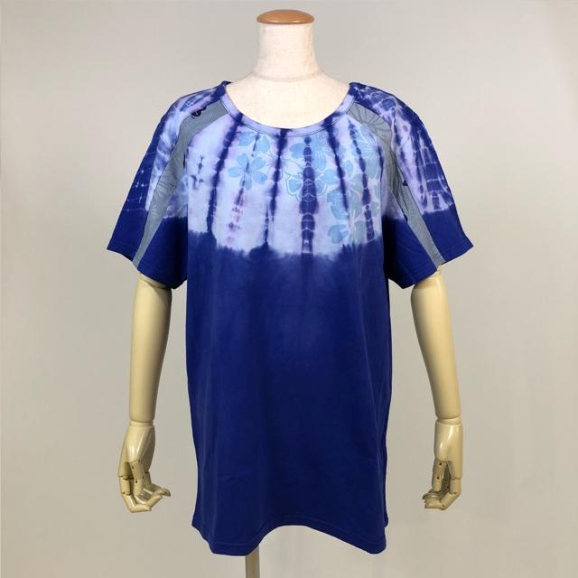 両脇和柄切り替えTシャツ/WH-NV/GGD24-T802