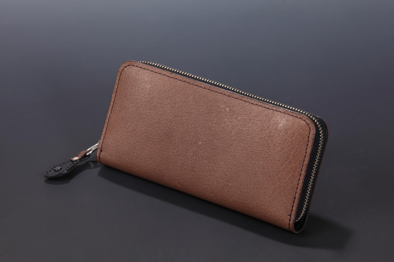 【国産イノシシ革】フルジップ ロングウォレット(Brown)【NOTO Leather使用】