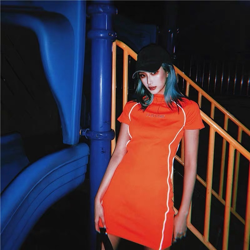 side line orange dress