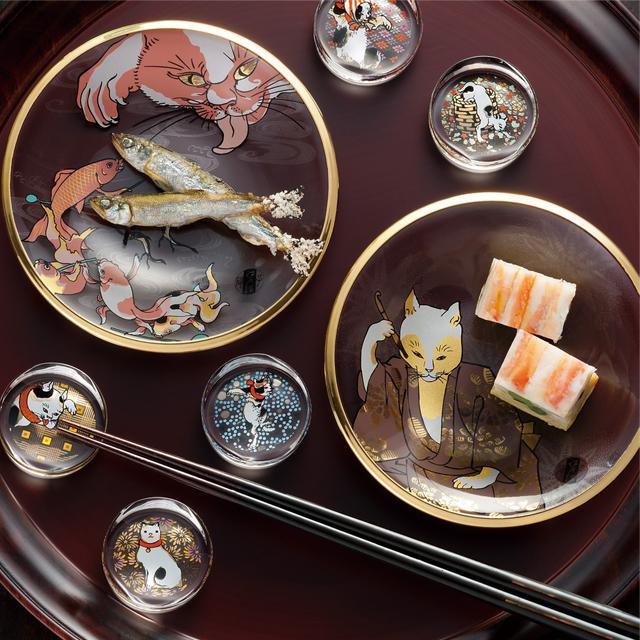 (191) 江戸猫ぐらす 丸皿 歌川国芳浮世絵 BOX入り ガラスプレート 小皿 取り皿 ネコ柄 ガラス食器 ギフト 記念日