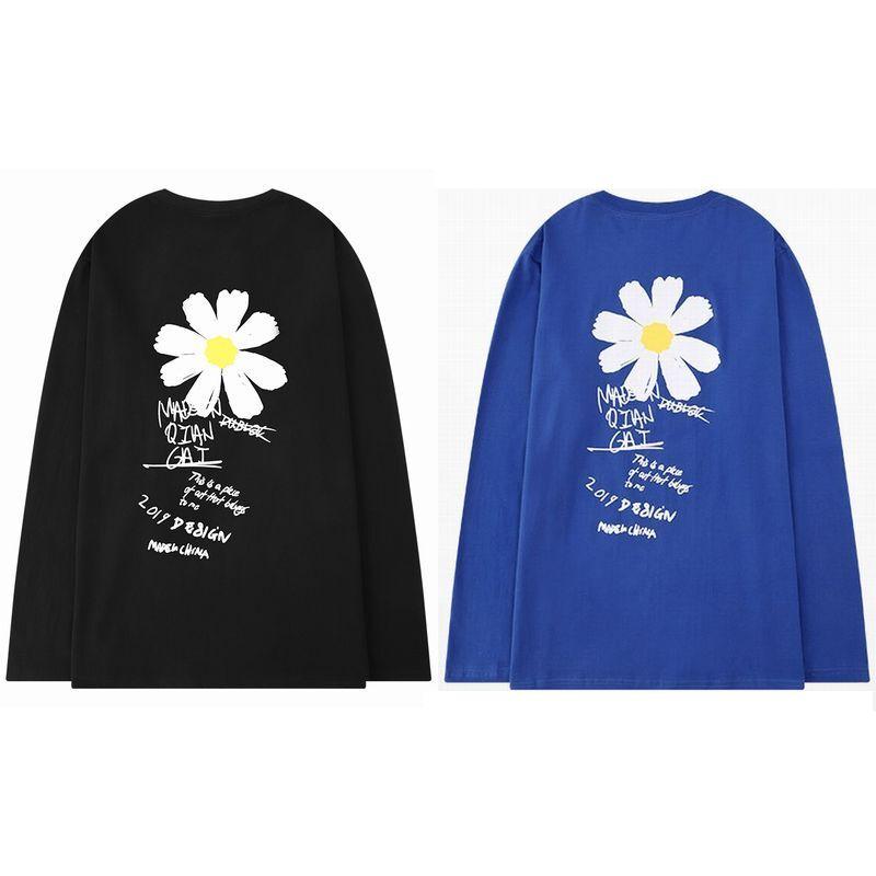 ユニセックス 長袖 Tシャツ メンズ レディース 花 英字 シンプル オーバーサイズ 大きいサイズ ストリート