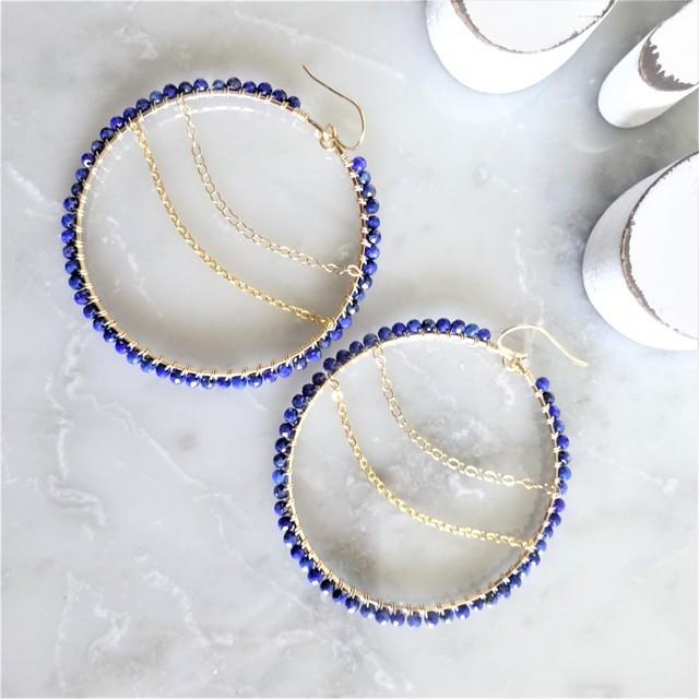 送料無料 14kgf lapis lazuli*wraped hoop pierce/earring