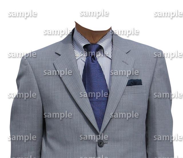 男性グレースーツ青ネクタイ正面