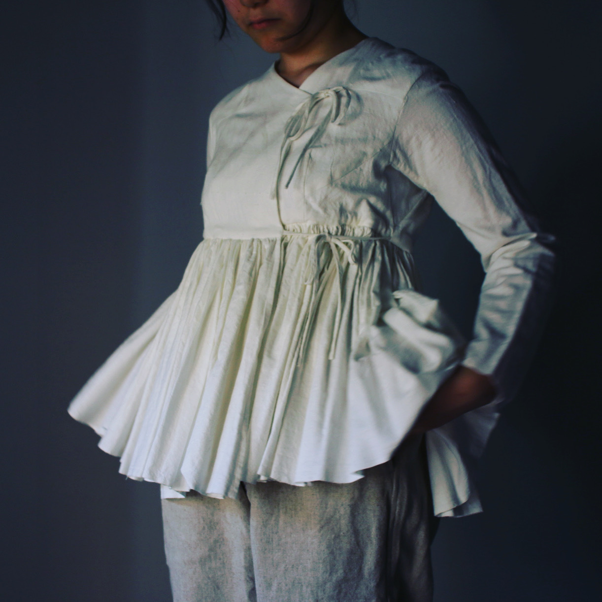 YAECA/ヤエカ ラップギャザーブラウス WHITE #69109