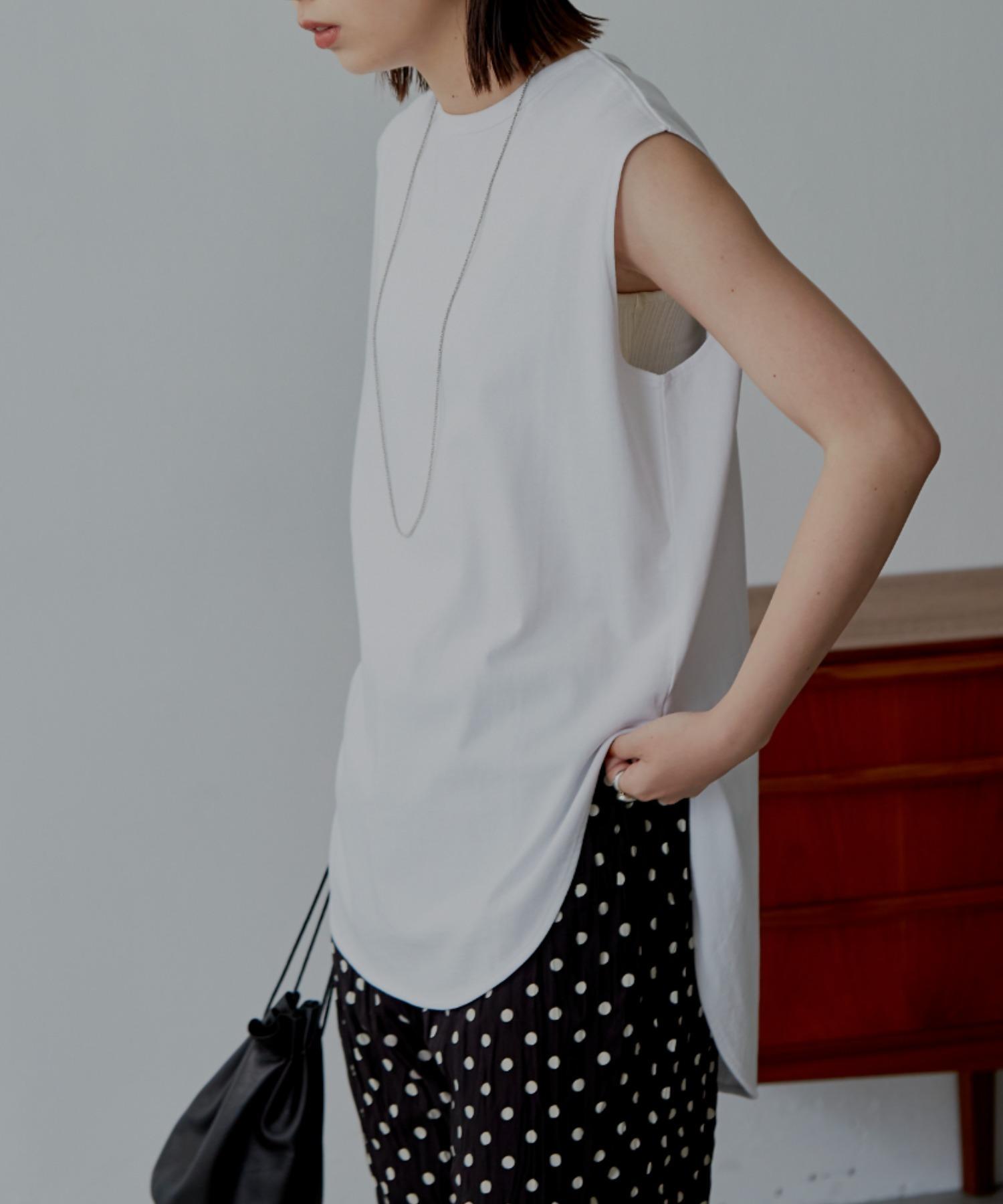 裾ラウンドスリットノースリーブTシャツ/WHT