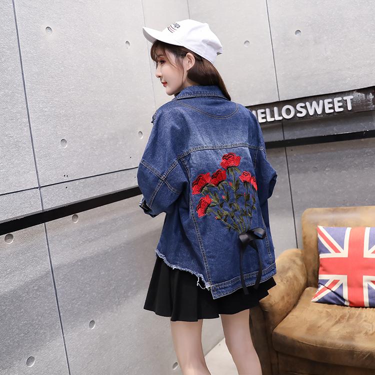 バックコンシャスな花柄刺繍&リボン ヴィンテージクラッシュデニムジャケット 韓国、ストリート系、原宿系ファッションに a0227