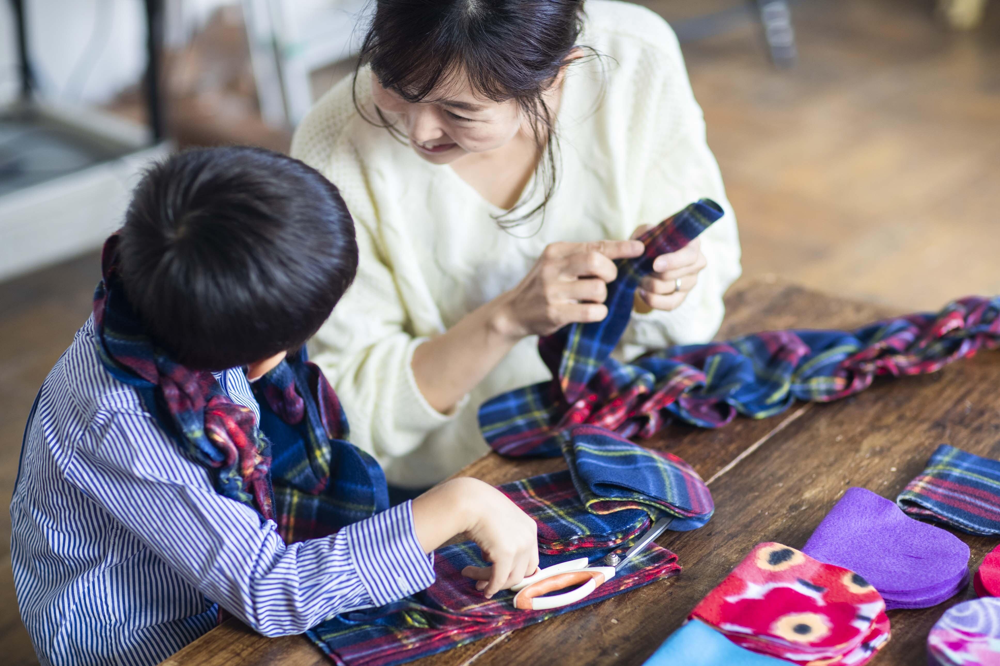 動画付手作りマフラーキット【モフリー Box Kit】 タータンブルー ◆Lサイズ