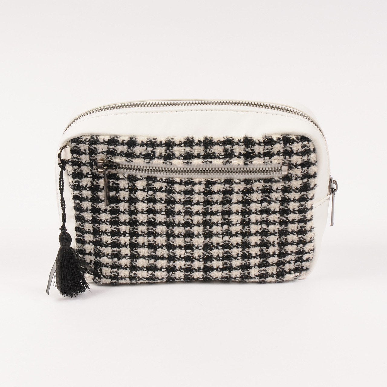 hs20SS-JR03 SQUARE POUCH -TWEED (white)
