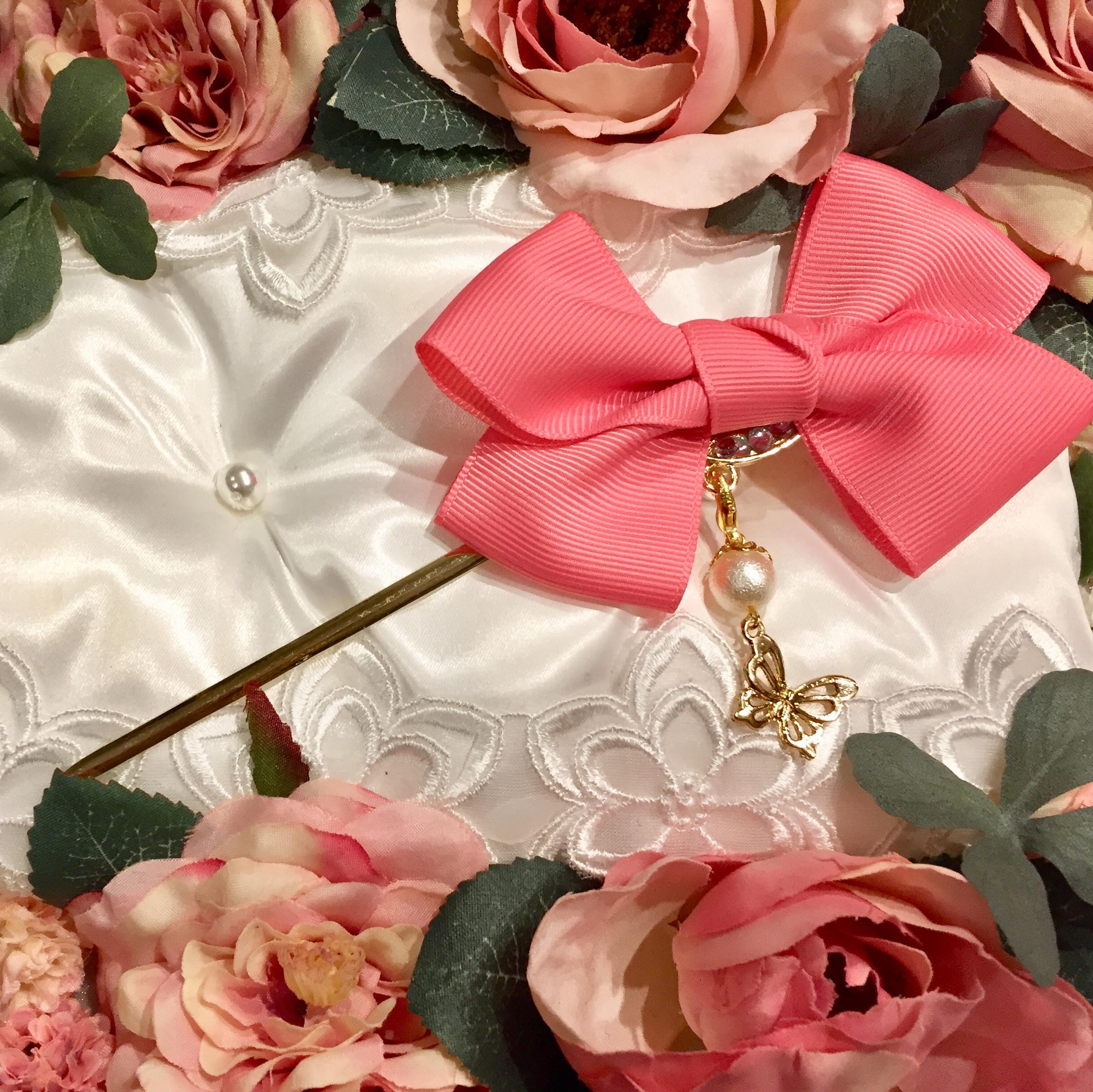 和装・洋装兼用❤️取り外せるチャームの2wayかんざし・ピンク