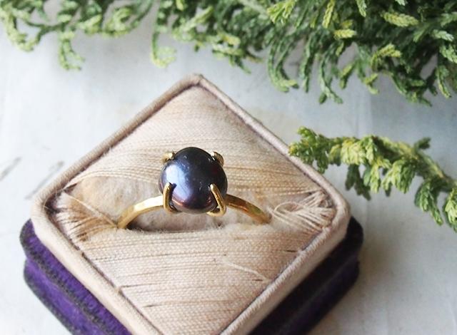 【一点物】ブラックパールのリング