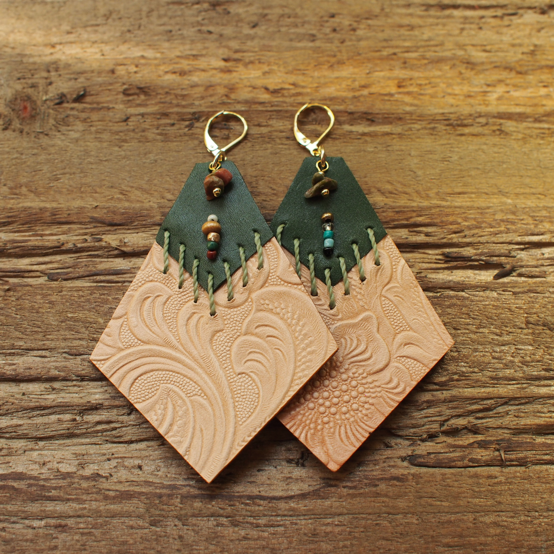 Embossed Leather Pierce / Green cord