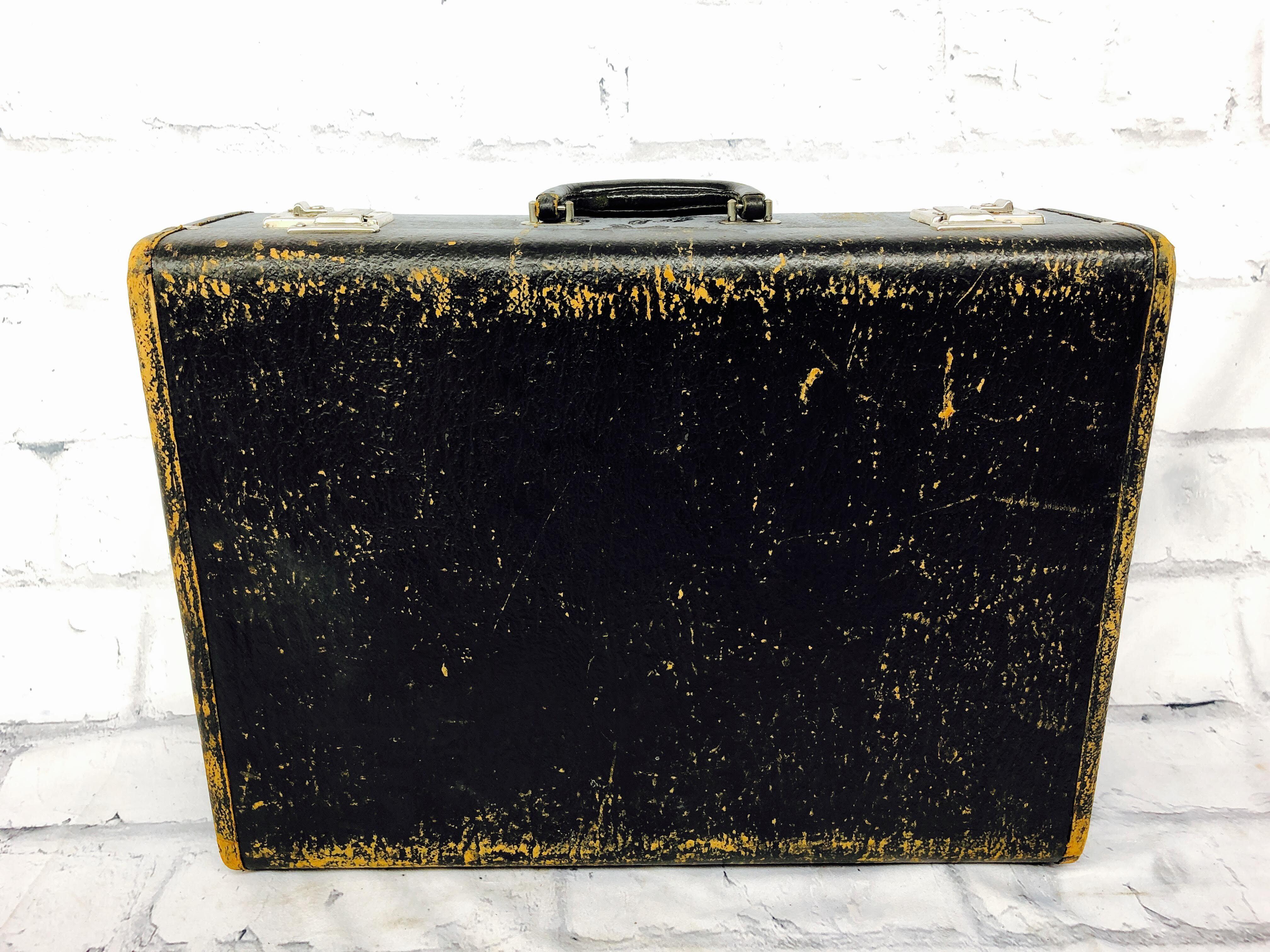 品番4202 スーツケース 木製 ハンディケース ブラック トランク ヴィンテージ