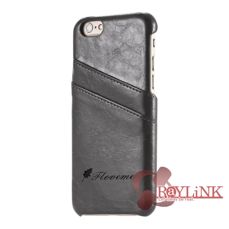 【スマホケース】iPhone7用レザーケース カード入れ付き グレー