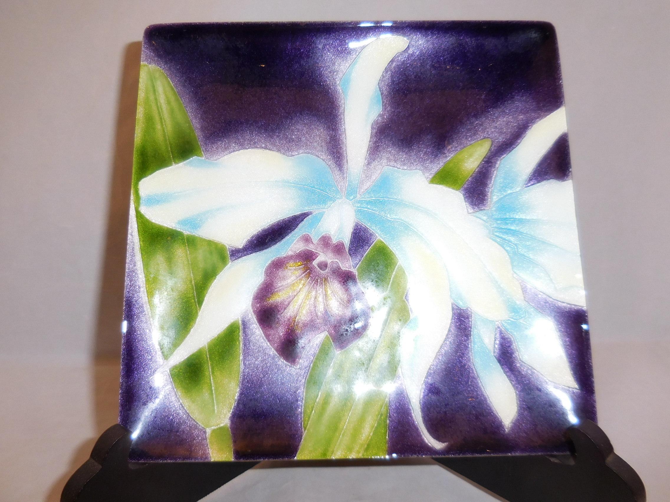 七宝カトレア飾り皿 cloisonne enamel plate(cattleya)