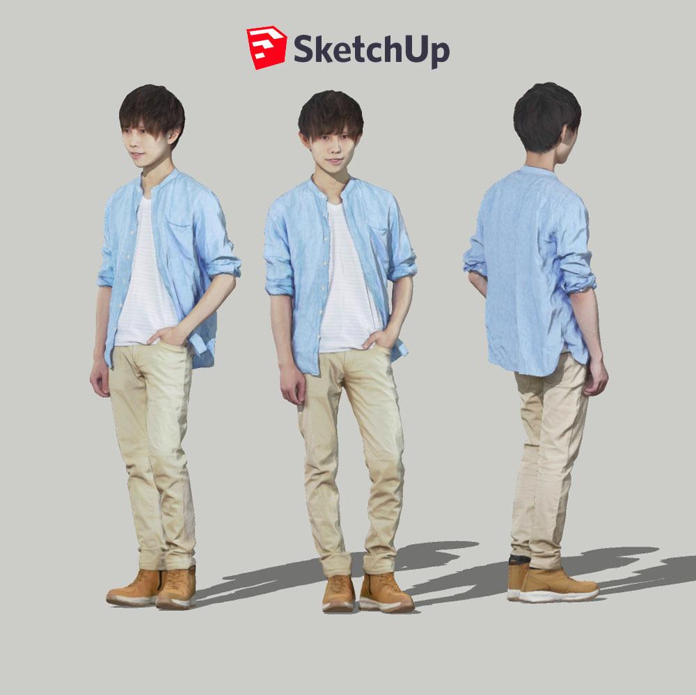 SketchUp素材 3D人物モデル ( Posed ) 033_Toru - 画像1