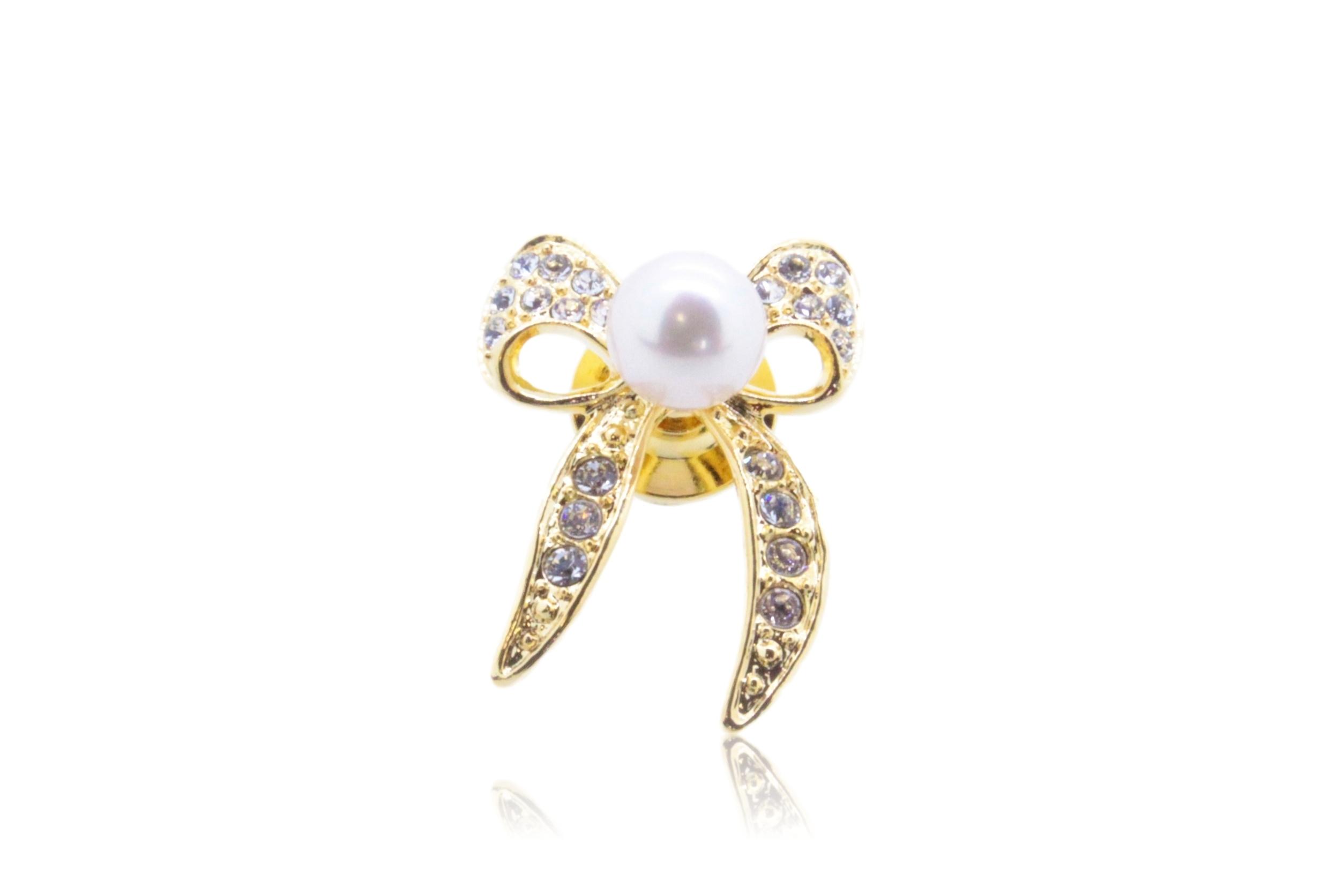 アコヤ真珠 ピンブローチ〈リボン〉ゴールドカラー