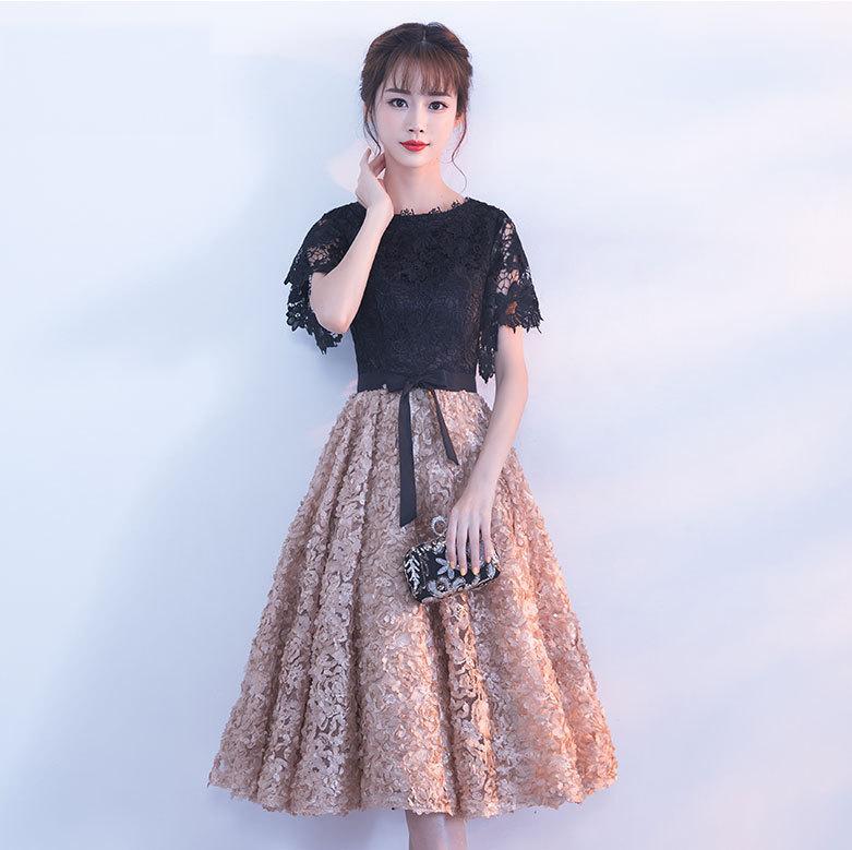◇花モチーフレース半袖プリンセスドレス◇バイカラー