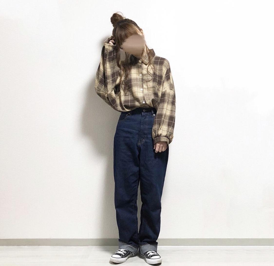 【送料無料】 ゆるかわチェック♡ ルーズ ゆるシルエット チェック柄 シャツ 羽織り ボリューム袖 ドロップショルダー
