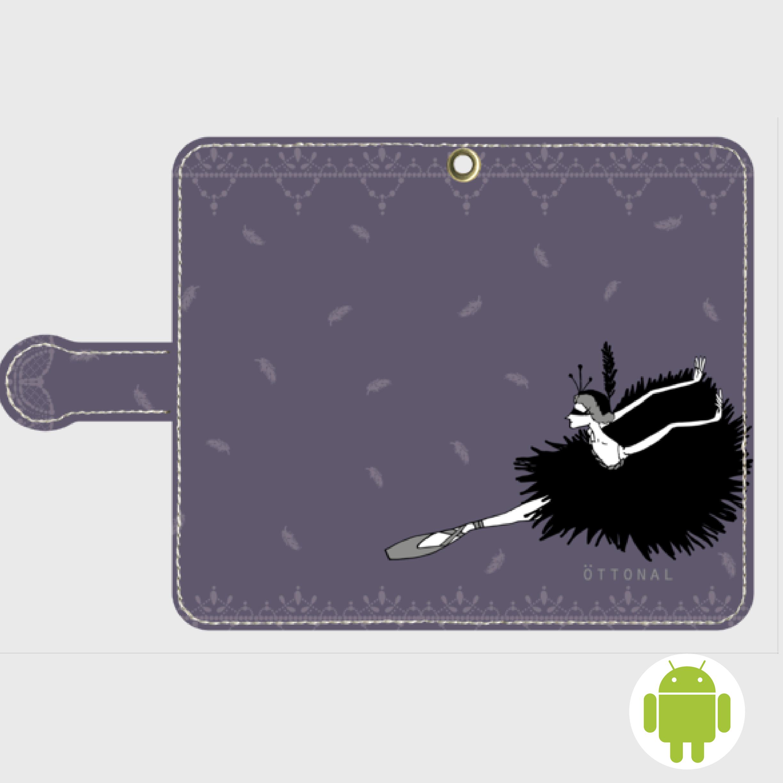 (Android)黒鳥 手帳型スマホケース - 画像1