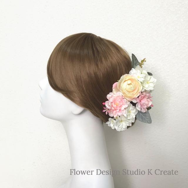 クリーム色とピンクの薔薇のヘッドドレス(Uピン 14本セット) 結婚式 ウェディング 春 紫陽花 ヘッドドレス