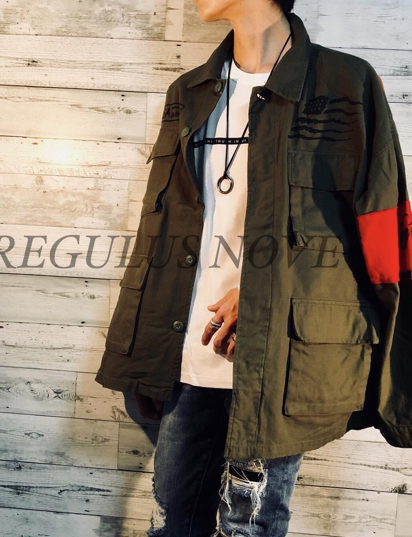 ユニセックス BIGシルエットミリタリージャケット KHAKI ユニセックス レディース メンズ オーバーサイズ 個性的 トレンド ストリート KPOP