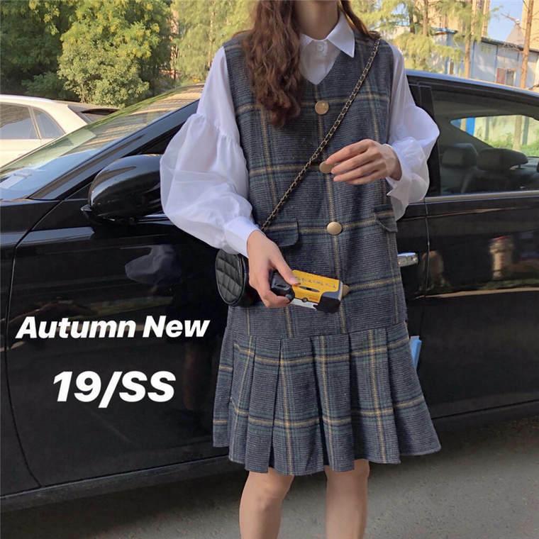 【送料無料】 上品レトロ♡ ボリューム袖 ブラウスシャツ × チェック柄 プリーツ ジャンパースカート セットアップ