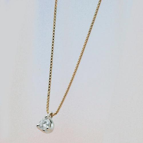 プラチナ&ゴールド コンビネーションダイヤモンドペンダント 0.22CT