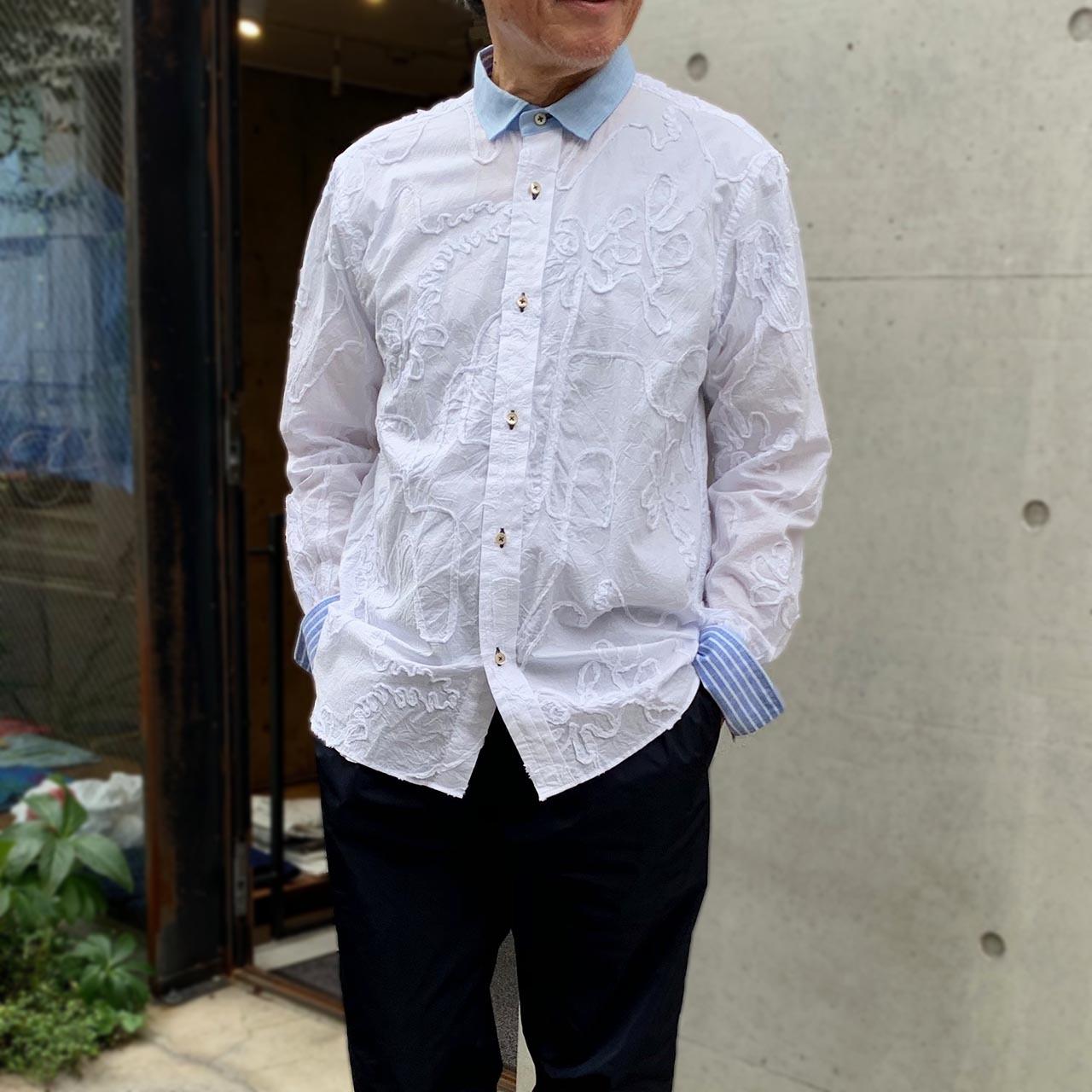 メンズ コード刺繍シャツ