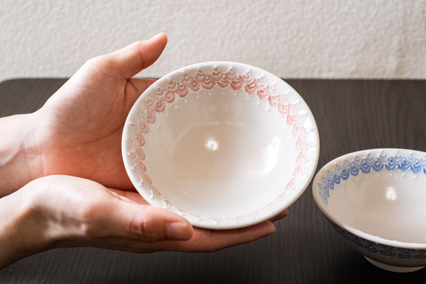 磁器レース茶碗【青/ピンク】