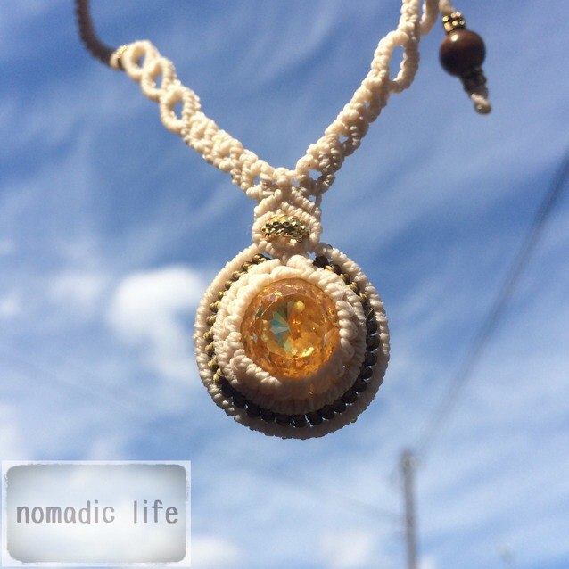 No.23//topaz necklace from India/トパーズマクラメネックレス