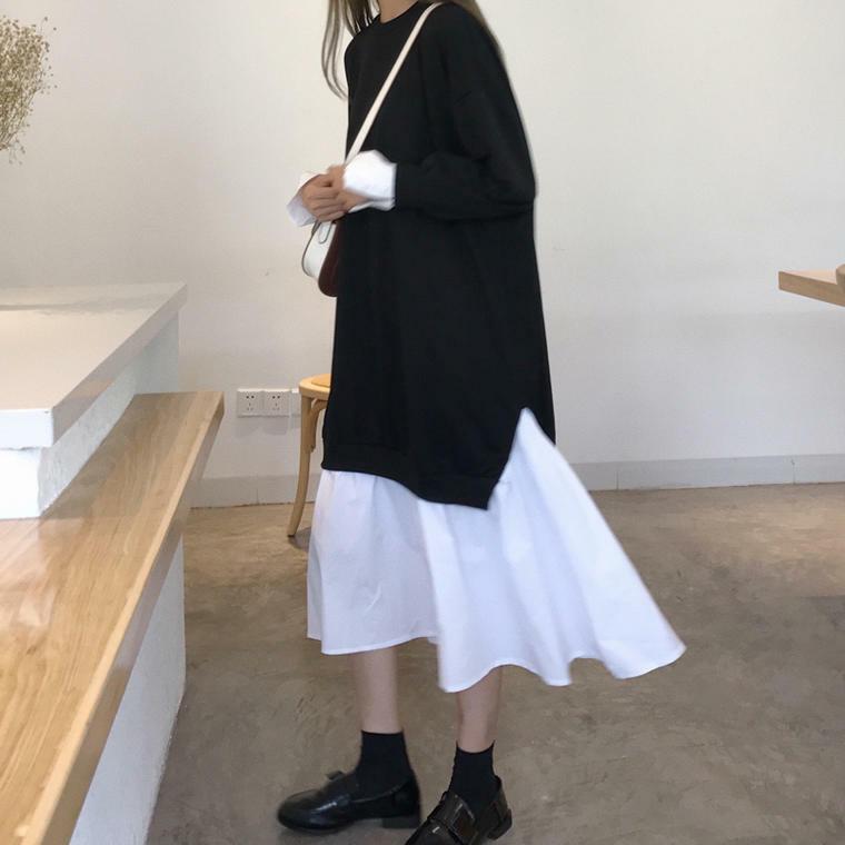 【送料無料】 モノトーンコーデ♡ レイヤード風 スウェット × シャツ ドッキング ワンピース ミモレ丈