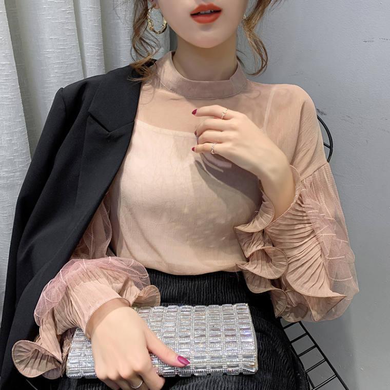 【送料無料】 ふんわりフェミニン♡ 大人可愛い 透け感 ハイカラー フリル シフォン ブラウス シャツ ボリューム袖