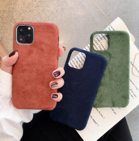 iPhone11【お取り寄せ商品、送料無料】選べる3色 スエード調 iPhoneケース