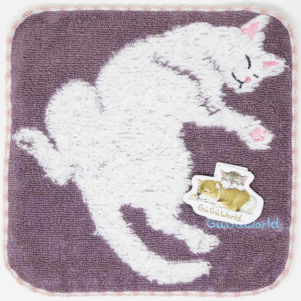 猫タオルハンカチ(GUGUWorldシロネコ)