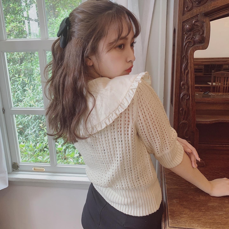 Désir original frill collar crochet knit tops